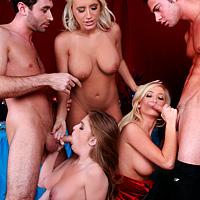 Sex in grup dupa patrecere cu pizde bisexuale si 2 pule